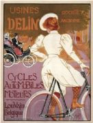 Vintage French bicycle poster - Usines Delin